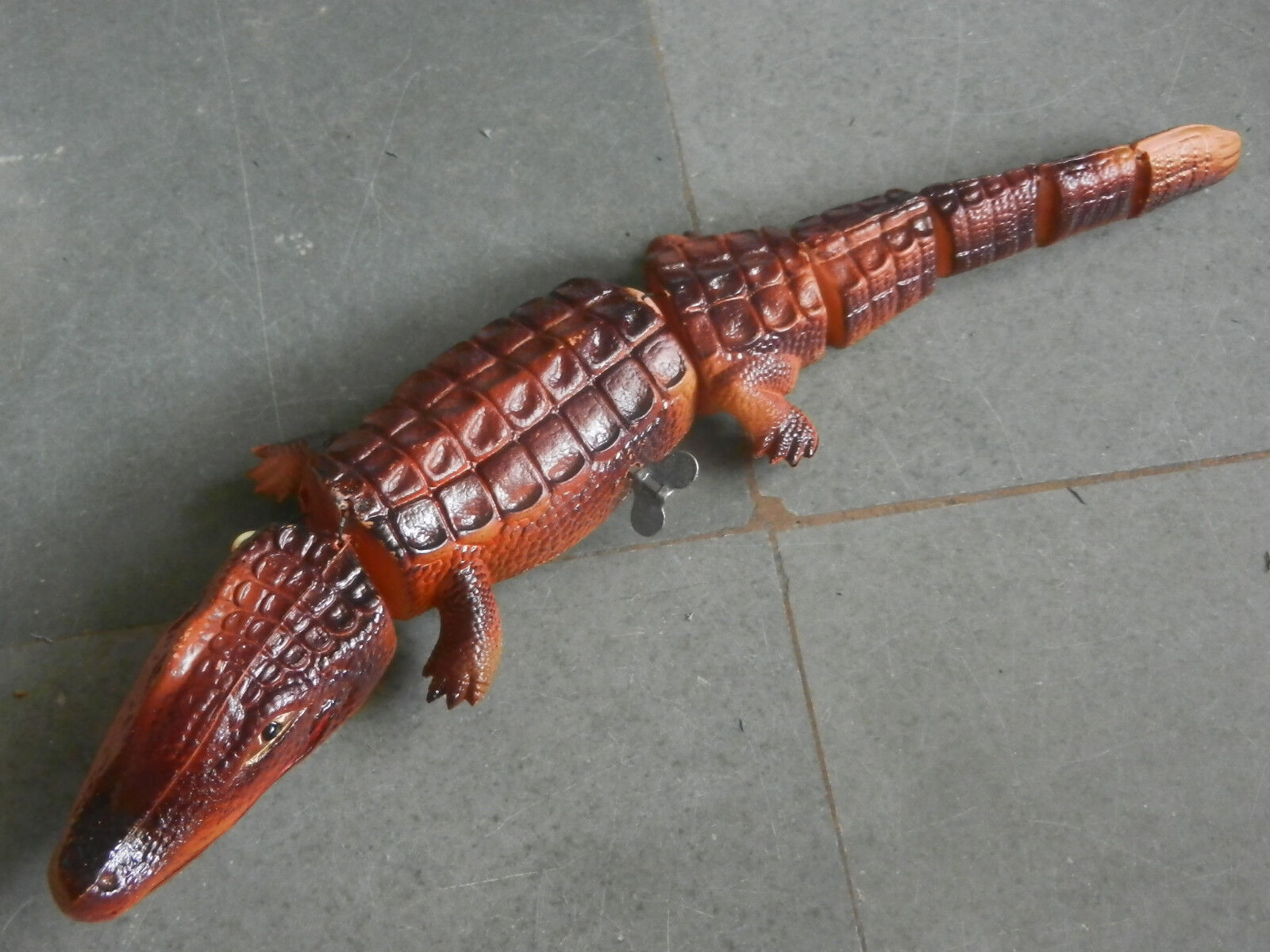 Rare Rare Rare Vintage Wind Up Boxed MT Trademark Celluloid Crocodile Toy , Japan 74554f