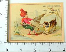 1880s Xmas Cards Of All Kinds Trifet's Kids Animals Victorian 5 Card Set K108