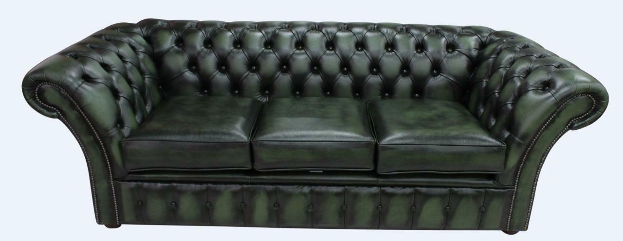 cd1472274a53 Chesterfield Balmoral 3 Seater Antique Green Leather Sofa Settee | eBay