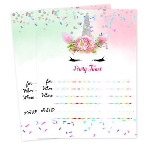 Unicorn Birthday Party Invitations Baby Shower Girl Invitation