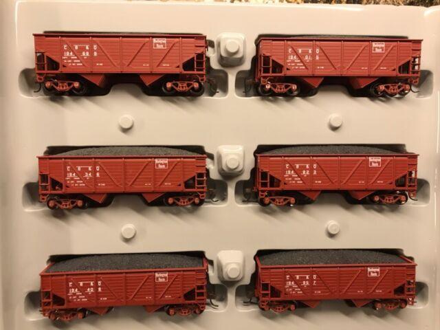 Athearn RTR HO #91175 Burlington Route (CB&Q) 34' Composite Side Hoppers 6 Pack