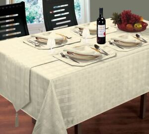 LUXURIOUS-WOVEN-CHECK-JACQUARD-CREAM-TABLE-CLOTH-52-034-X-70-034-4-NAPKINS-4-PLACEMATS