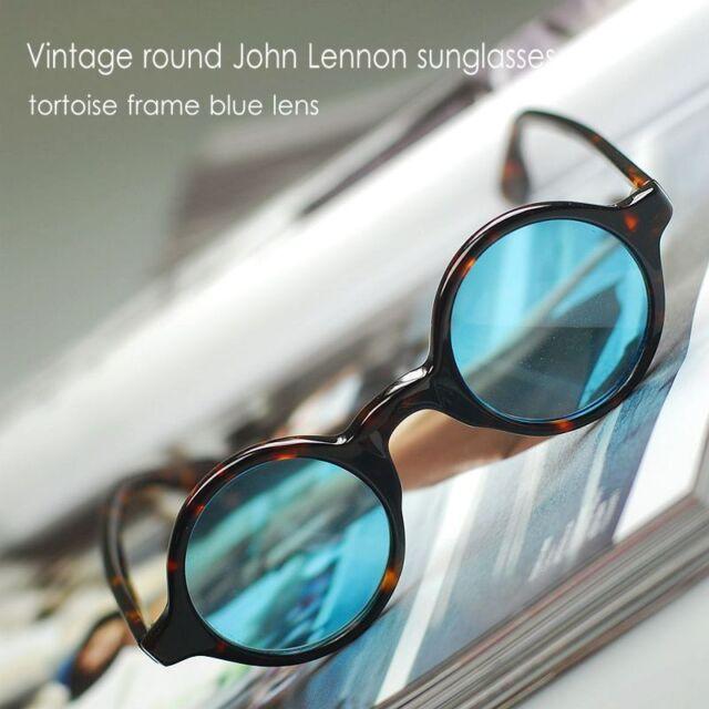 63fdf1d15b60 Vintage round John Lennon sunglasses Hippie Retro tortoise eyeglasses blue  lens