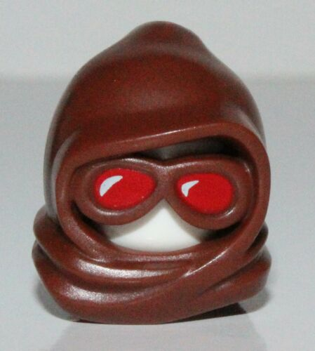 Lego Reddish Brown Minifig Headgear Hood Goggles Face Red Lenses