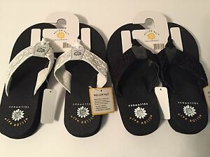 859faa5cf817 Yellow Box Muse Black or White Sequin   Lace Flip Flops Mellow Mat ...