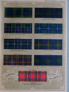 1919-PRINT-SCOTTISH-REGIMENTAL-TARTANS-BLACK-ATCH-CAMERONIANS-GORDON-DOUGLAS