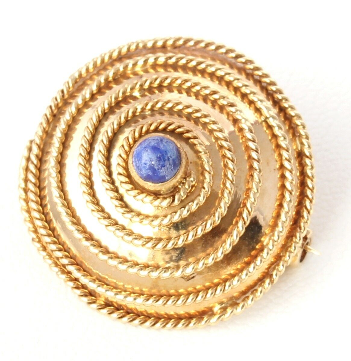 Antique   Vintage 18ct gold Filigree & Lapis Lblueei Round Brooch. Gift Boxed.