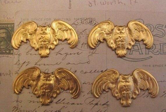 Raw Brass Owl Stampings Without Hole (4) - FF2749 Jewelry Finding