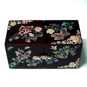 Mother Of Pearl Inlay Asian Lacquer Wooden Butterfly