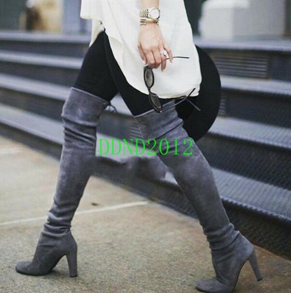 Womens Suede Round Toe Thigh High Over the Knee Boots Gray Block High Heel New D