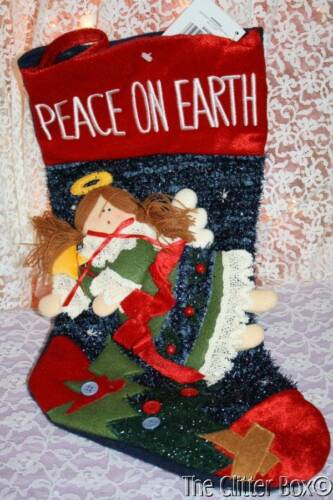 Christmas Stockings Country Angel Primitive Peace On Earth Homespun Creations