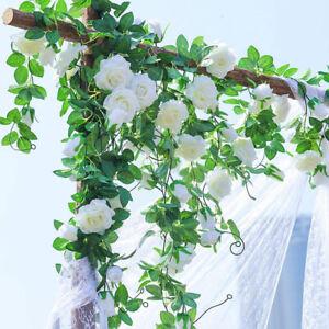 8Ft-Artificial-Rose-Vine-Silk-Flower-Garland-Home-Outdoor-Wedding-Arch-Wall-Deco