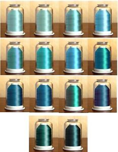 TEAL GREENS-Convenient Color Families-Hemingworth Machine Embroidery Thread