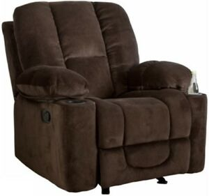 Details About Brown Glider Arm Chair Recliner Recliners Chairs Armchair Armchairs Cup Holders