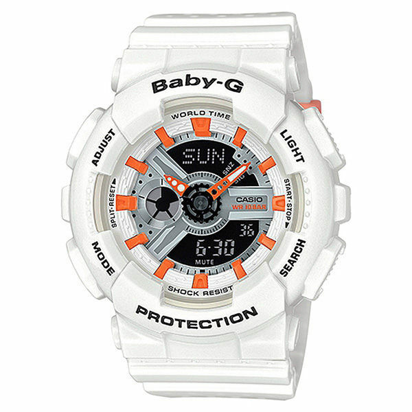 Casio Baby-G BA-110PP-7A2 Punching Series Salmon Pink Dial White Strap Watch
