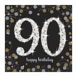 16pk Gold Sparkle Celebration 90th Lunch Napkins 33cm Birthday Party Tableware 689993432915