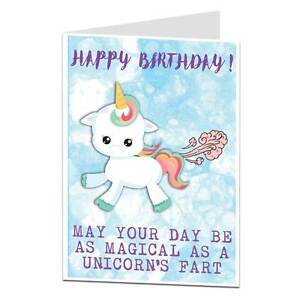 Image Is Loading Unicorn Happy Birthday Card Funny Farts Theme Gift