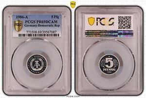 Rda 5 Peniques 1986A Pulida Placa PCGS PR69DCAM 53339