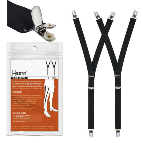 Hold'Em Mens Y-Style Shirt Stay Suspenders Adjustable Heavy Duty 3 Clips