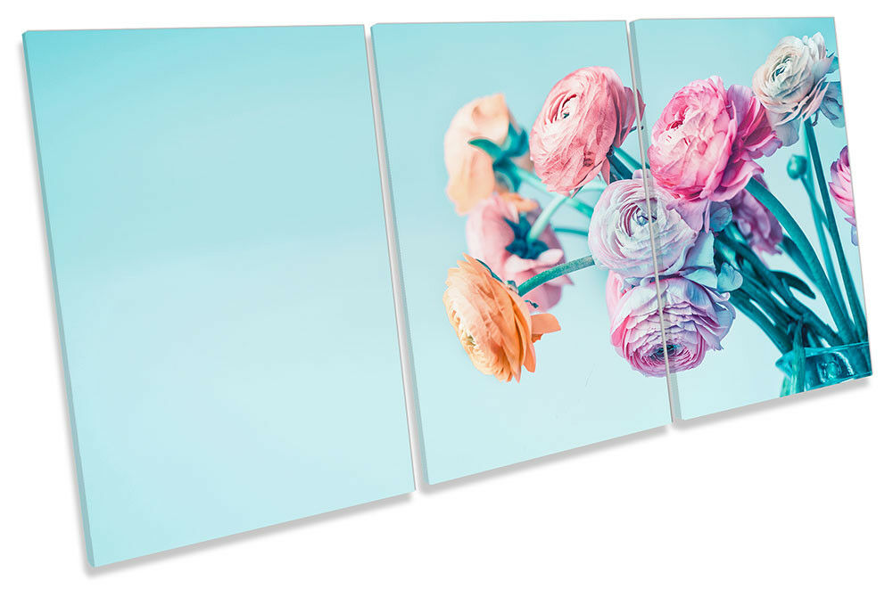 Flowers Flowers Flowers Bunch Floral Picture CANVAS WALL ART TREBLE Print 3333f5