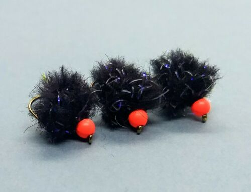 3 x eggstasy Egg Truites Mouches électrique noire UV eggstasy Fly rouge perle