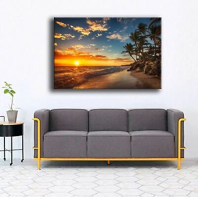 Beach Sunset Palm Trees Canvas Print Painting Framed Home Decor Wall Art Poster
