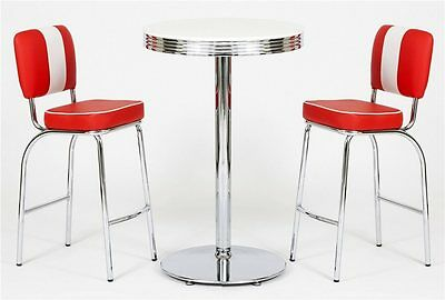 Set American Diner Bar Tischgruppe Barhocker Barstuhl Bartisch 50er Look rot C
