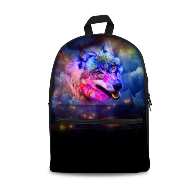 Men Canvas Backpack Bookbag Wolf Cool Backpacks