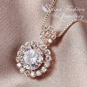 18K-Rose-Gold-Plated-Simulated-Diamond-2-0-Ct-Round-Cut-Shiny-Halo-Necklace