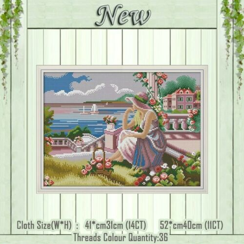 Niña mirando al mar Cross Stitch Kit 14ct tamaño 41 X 31 cm alegría domingo BNIP