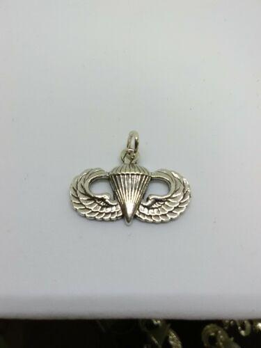 Sterling Silver Army Airborne Parachutiste De Base Jump Wing Pendentif Charme