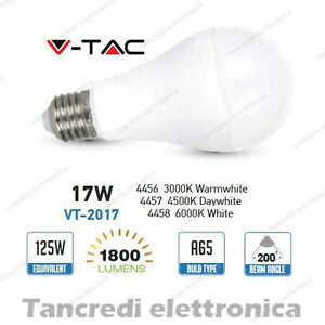 Lampadina-led-V-TAC-17W-120W-E27-VT-2017-A65-attacco-grande-globo-sfera-smd