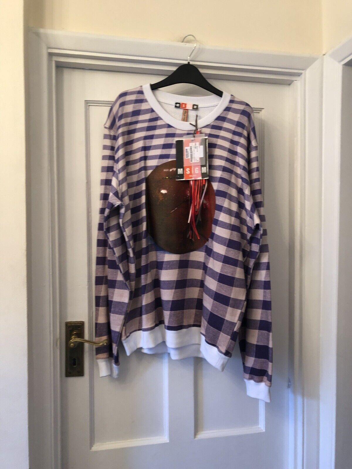 New MSGM Blau & Weiß Check 'rot Apple' Luxury 100% Cotton Sweatshirt Top,Med