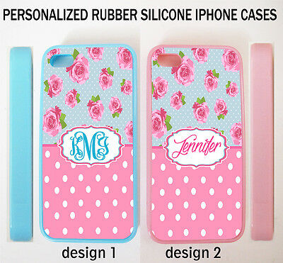 BLUE PINK POLKA DOTS VINTAGE ROSES FLORAL MONOGRAM CASE FOR IPHONE X 8 7 6S SE 5