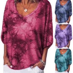 Womens-Floral-V-Neck-Blouse-Long-Sleeve-Loose-T-Shirts-Casual-Tee-Tops-Plus-Size