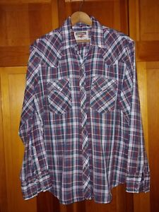 Youngbloods-Authentic-Western-Men-L-Plaid-Pearl-Snap-Long-Sleeve-Shirt-Vintage