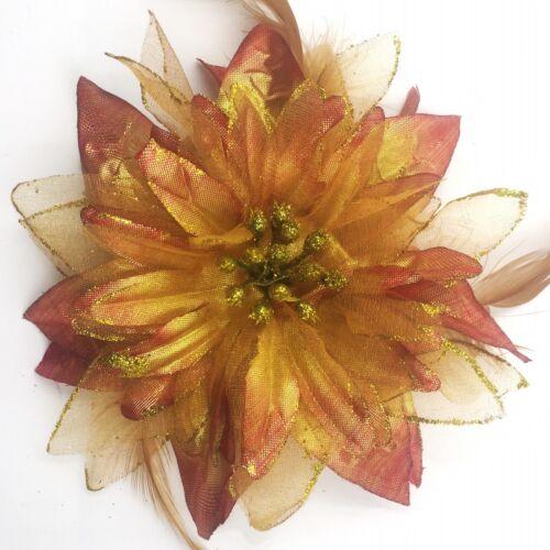 HAARBLUME HAARGUMMI Ansteckblume Haarblüte Federn Zopfband Brosche Glizer Ø 15cm