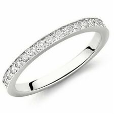1.6 MM 0.35Ct Round Diamond Pave Set Delicate Full Eternity Ring in White Gold .