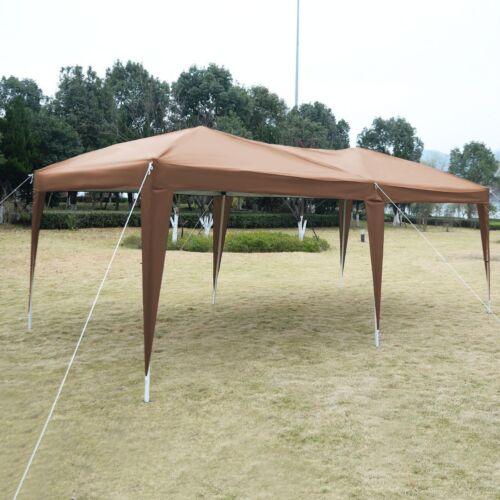 EZ POP UP Gazebo Wedding Party Tent Folding Canopy Carry Bag Cross-Bar 10'X20'