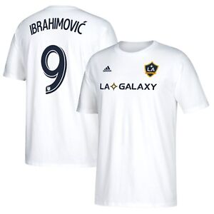 sale retailer fe786 41a14 Details about LA Galaxy Zlatan Ibrahimovic White Men's Adidas Shirt Tee  Number 9