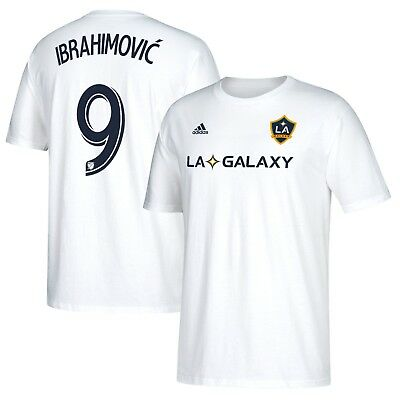 buy popular cf007 98f1e LA Galaxy Zlatan Ibrahimovic White Men's Adidas Shirt Tee Number 9 | eBay