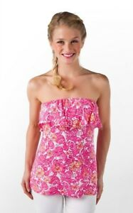 Lilly-Pulitzer-Womens-XS-Wiley-Ruffle-Tube-Top-Pink-Chum-Bucket-Floral-Nautical