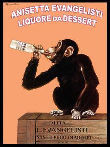 Image Is Loading Vintage POSTER Italian Monkey Drinks Beer Art Decor