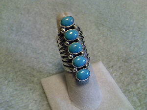 5 Turquoise Stones in a Row Ladies Ring in Handcrafted Sterling Silver