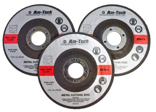 AMTECH 3pc 22.23 x 3 x 115mm 4.5/'/' METAL BOLT CUTTING DISC GRINDER CUTTER BLADE