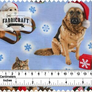 Christmas-Fabric-Dogs-amp-Cats-on-blue-100-cotton-1-metre