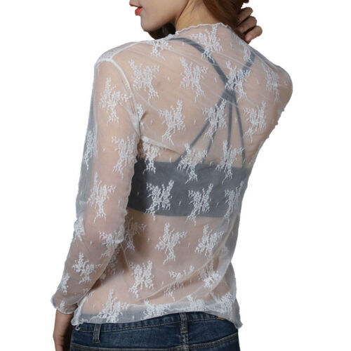 Damen Mesh Lace Durchsichtig Bluse Top Langarm Jumper Bottoming Gym T-Shirt *