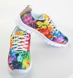 Women-039-s-Sneakers-Multi-Color-Flower-Trainers-Free-Running-Gym-Shoes-UK-8-7-6-5-4