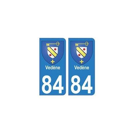 84 Vedène blason ville autocollant plaque -  Angles : arrondis