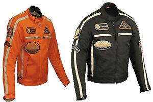Blouson moto homme noir et orange